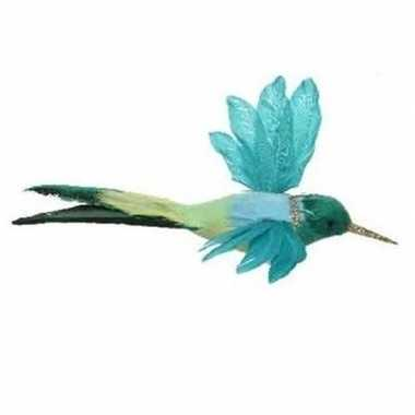 Hobby blauwe kolibrie vogel clip decoratie