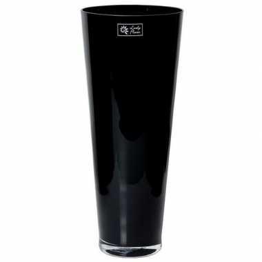 Hobby conische vaas zwart glas
