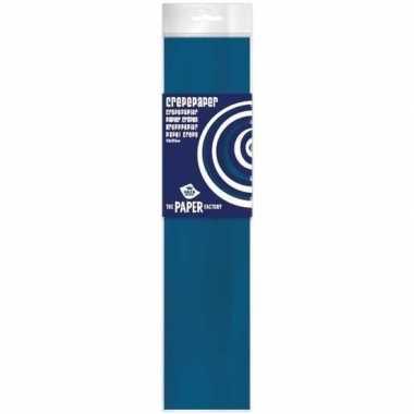 Hobby crepe papier plat petrol blauw knutsel materiaal