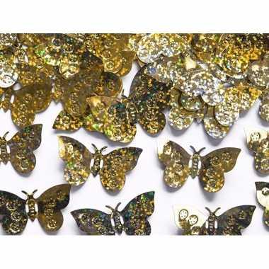 Hobby decoratie confetti gouden vlinders gram
