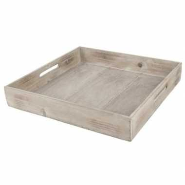 Hobby dienblad/plateau/tray bruin hout vierkant handvat