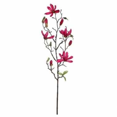 Hobby fuchsia roze magnolia/beverboom kunsttak kunstplant
