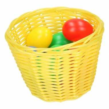Hobby geel paasmandje gekleurde eieren