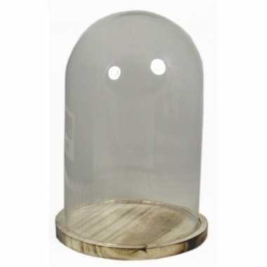 Hobby glazen decoratie stolp houten plateau
