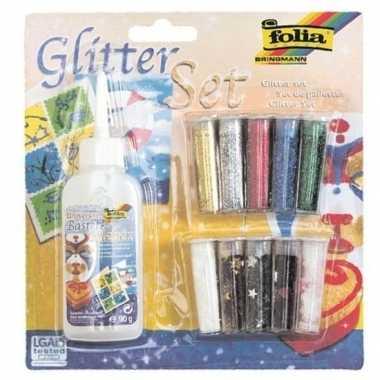 Hobby glitter confetti set lijm