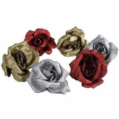 Hobby glitter rozen klem stuks