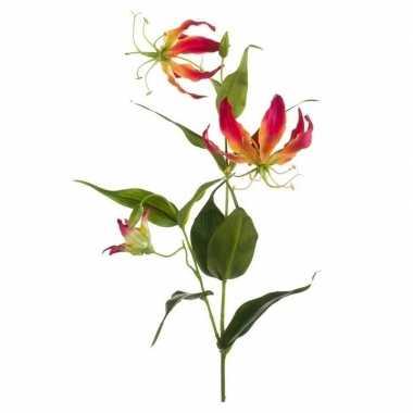 Hobby gloriosa kunstbloem rood/geel