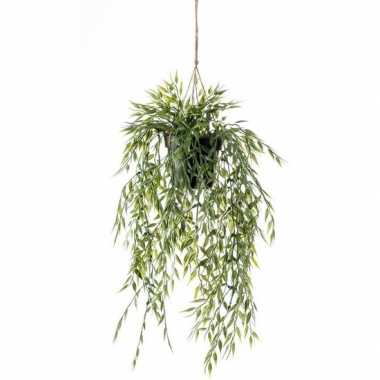 Hobby groene bamboe kunstplant hangende pot