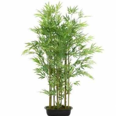 Hobby groene bamboe kunstplant zwarte plastic pot