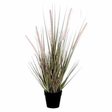 Hobby groene dogtail/siergras kunstplant zwarte pot