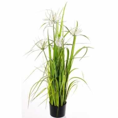 Hobby groene grasplant kunstplant zwarte pot