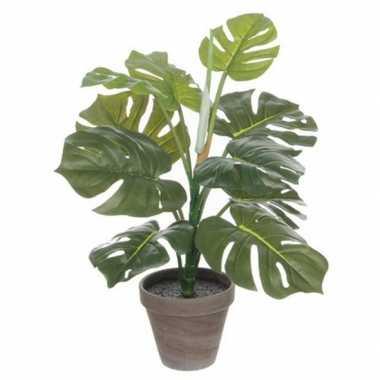 Hobby groene monstera/gatenplant kunstplant grijze pot