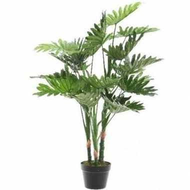 Hobby groene monstera/gatenplant kunstplant zwarte pot