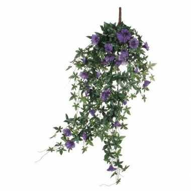 Hobby groene petunia paarse bloemen kunstplant hangende pot