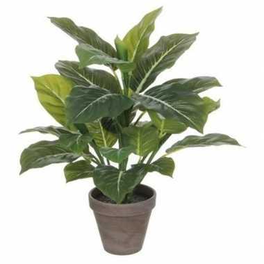 Hobby groene philodendron kunstplant grijze pot