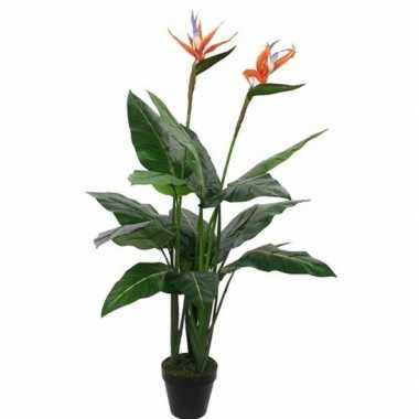 Hobby groene strelitzia/paradijsvogel kunstplant zwarte pot