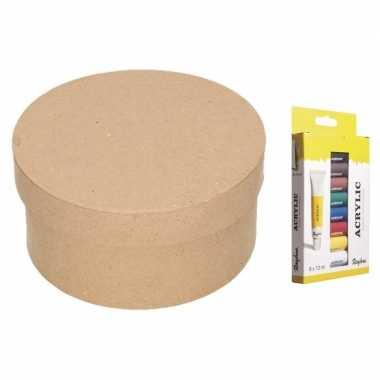 Hobbypakket ronde opbergdoos maken acrylverf