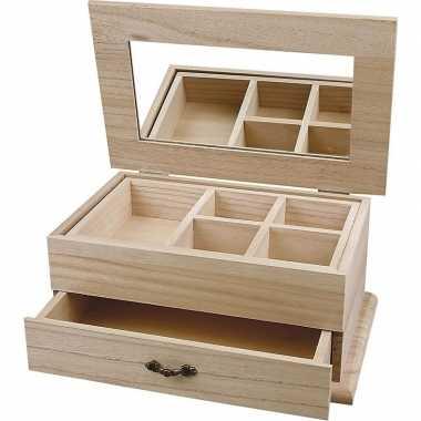 Hobby houten sieraden kistje onbedrukt
