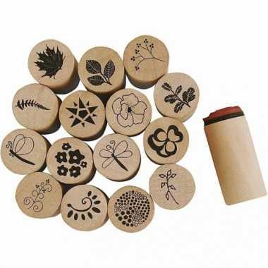 Hobby houten stempelset bloemen stuks