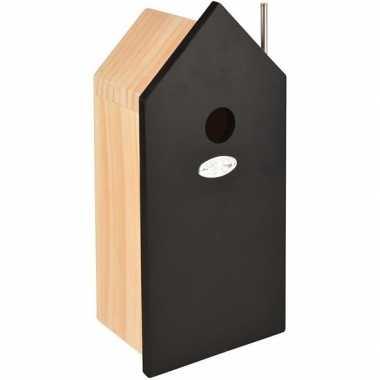 Hobby houten vogelhuisje/nestkastje zwart