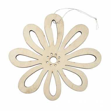 Hobby houten vromen decoratie hanger een bloem