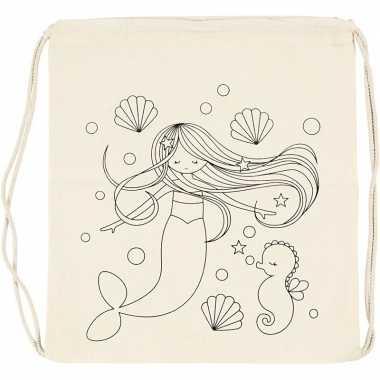 Hobby inkleurbaar rugzakje zeemeermin