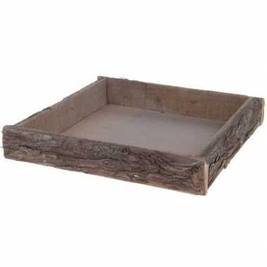 Hobby kaarsenbord/plateau boomstam berkenhout vierkant