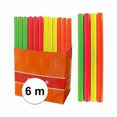Hobby kaftpapier folie schoolboeken neon oranje meter
