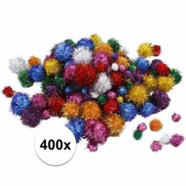 Hobby knutsel glitter pompons assorti stuks