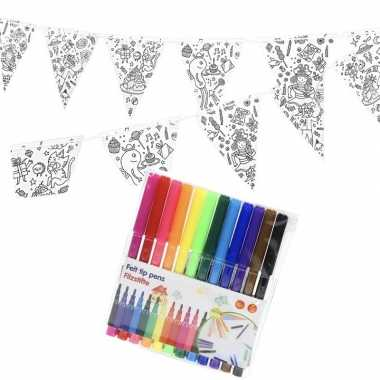 Hobby knutsel papieren vlaggenlijn om te kleuren m incl. stiften