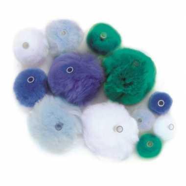 Hobby knutsel pompons kunststof ogen blauw/lichtblauw/groen