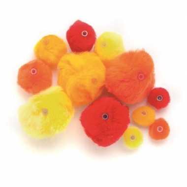 Hobby knutsel pompons kunststof ogen rood /oranje/geel