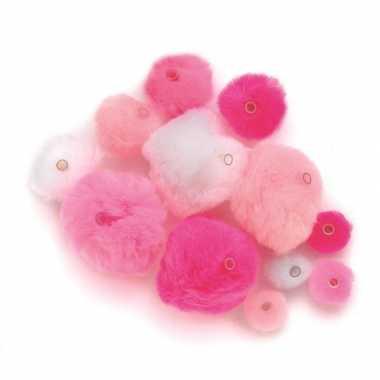 Hobby knutsel pompons kunststof ogen roze/lichtroze/wit