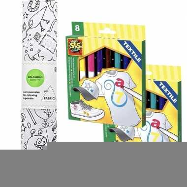 Hobby knutsel stoffen kleurplaat incl. stiften kinderen