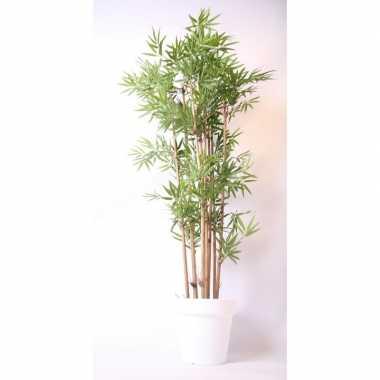 Hobby kunstplant bamboe witte pot