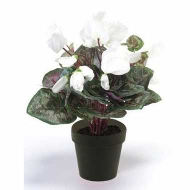 Hobby kunstplant cyclaam wit zwarte pot
