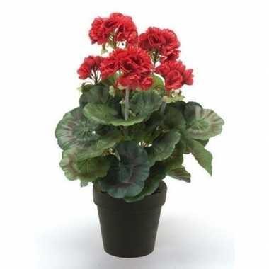 Hobby kunstplant geranium rood zwarte pot