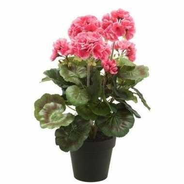 Hobby kunstplant geranium roze zwarte pot