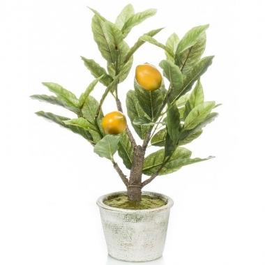 Hobby kunstplant groene citroenboom betonlook pot