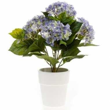 Hobby kunstplant hortensia blauw witte pot