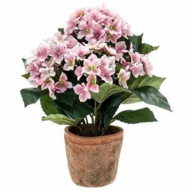 Hobby kunstplant hortensia roze oude ronde terracotta pot