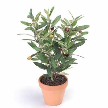 Hobby kunstplant olijfboompje groen terracotta pot