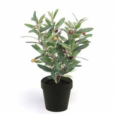 Hobby kunstplant olijfboompje groen zwarte pot