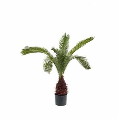 Hobby kunstplant palm groen zwarte ronde pot