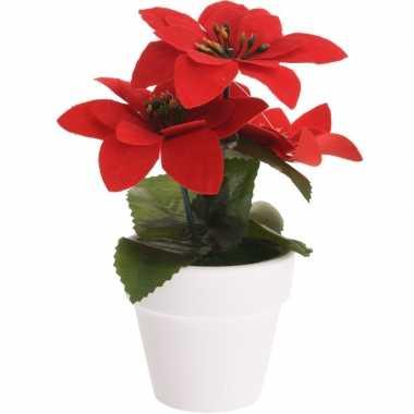 Hobby kunstplant poinsettia rood pot
