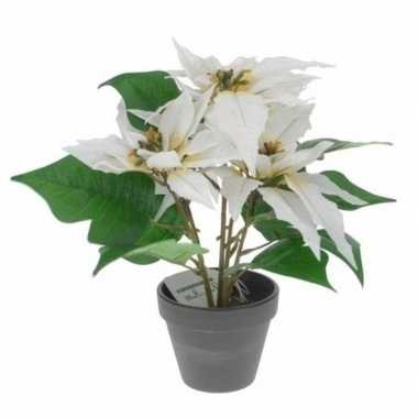 Hobby kunstplant poinsettia wit pot