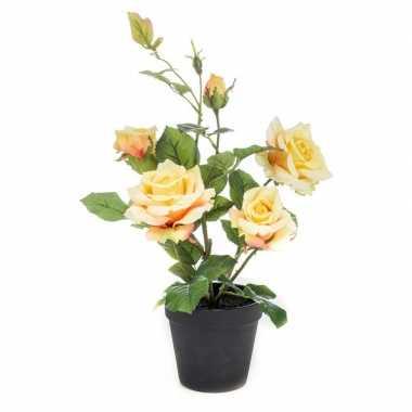 Hobby kunstplant roos geel pot