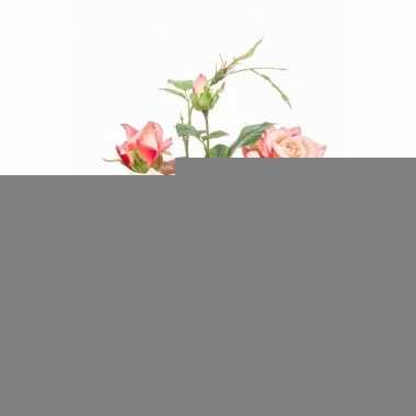 Hobby kunstplant roos perzik/geel pot