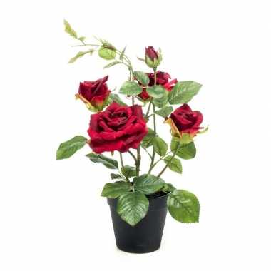 Hobby kunstplant roos rood pot