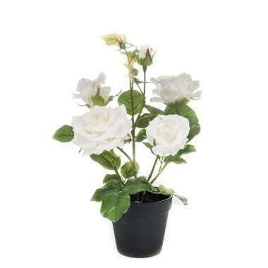 Hobby kunstplant roos wit pot